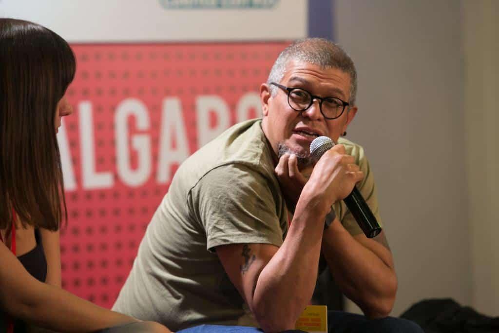Rafael Pineda, finalista del Premio Gabo 2016, en la charla Maratón de las mejores historias de Iberoamérica en la categoría Innovación. Foto: David Estrada/FNPI.