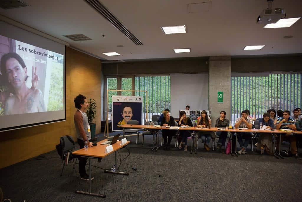 Daniel Alarcón en el Taller de periodismo narrativo en audio. Foto: David Estrada Larrañeta /FNPI