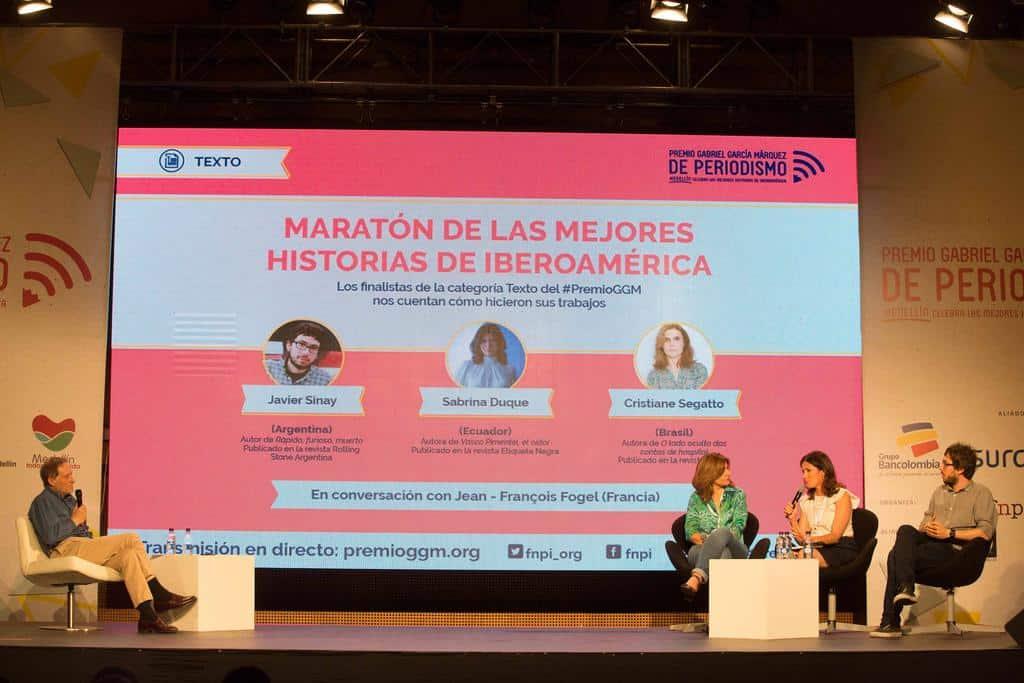 Charla 'Maratón de la categoría Texto' con Sabrina Duque (Ecuador), Cristiane Segatto (Brasil) y Javier Sinay (Argentina), y Jean-François Fogel (Francia). Foto: Julián Roldán/FNPI.