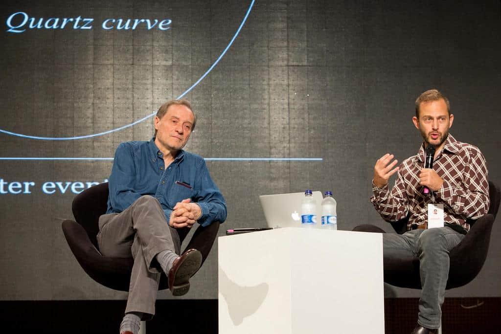 Charla 'Quartz: el periodismo que piensa en el tiempo del lector', con Gideon Lichfield (Estados Unidos) en conversación con Jean-François Fogel (Francia). Foto: David Estrada Larrañeta /FNPI