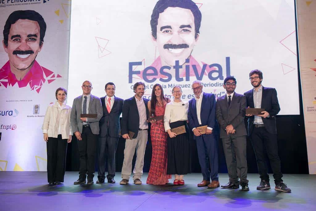 Ganadoras de premios en la ceremonia del Premio Gabrial Garcia Marquez. .Foto: David Estrada Larrañeta /FNPI