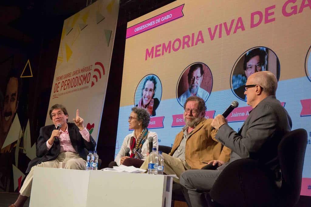Charla 'Memoria viva de Gabo', con Gabriela Polit (Ecuador), Eric Nepomuceno (Brasil) y Jaime Abello Banfi (Colombia) en conversación con Héctor Feliciano (Puerto Rico). Foto: David Estrada Larrañeta /FNPI