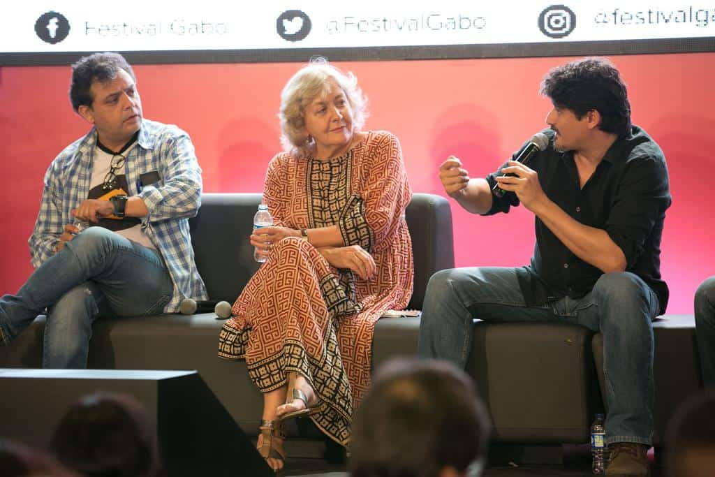 Carlos Dada, Mónica González y José Luis Sanz en la charla 'Los incómodos de El Faro'.Foto: David Estrada/FNPI.