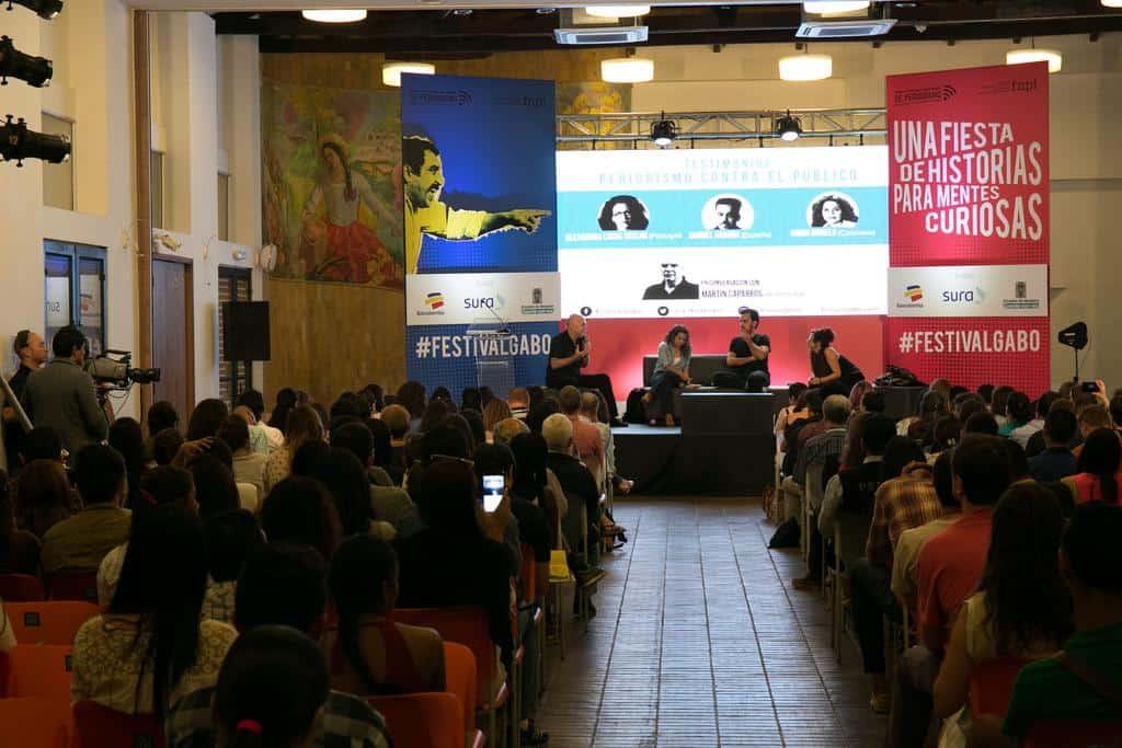 Martín Caparrós, Ginna Morelo, Samuel Aranda y Alexandra Lucas Coelho en la charla 'Periodismo contra el público'. Foto: David Estrada/FNPI.