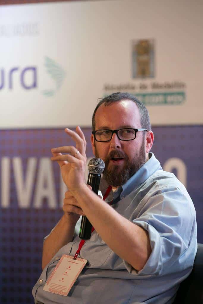 A.O. Scott en la charla ¿Cómo pensar el arte, el placer, la belleza y la verdad?'.Foto: David Estrada/FNPI.