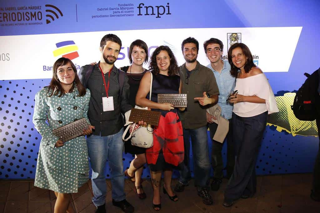 Eva Belmonte, Caio Cavechini, Ana Aranha, Natalia Viana, Caue Angeli y Juanita León. Foto: David Estrada/FNPI.