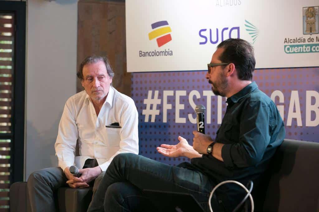 Bernardo Loyola (México) en conversación con Jean-François Fogel (Francia) en al charla 'Vice, la tierra prometida'. Foto: Julián Roldán/FNPI.