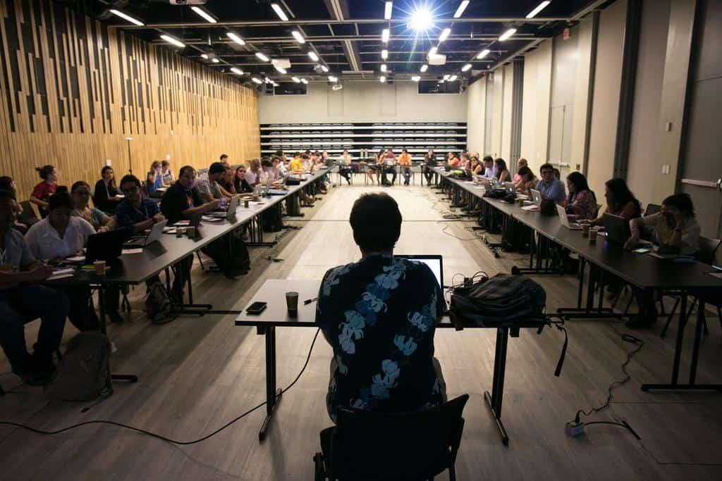Gustavo Faleiros en el taller 'Geoperiodismo de datos y mapas digitales'.Fotos: David Estrada/FNPI.