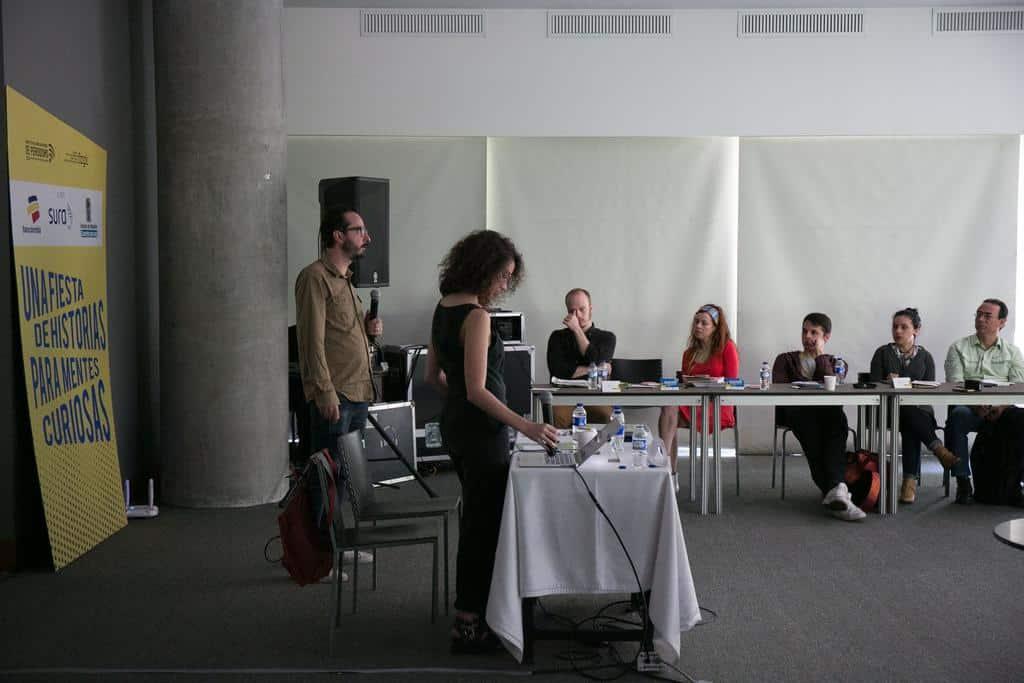 Bernardo Loyola hablando en el taller 'Contar historias en video'.Foto: David Estrada/FNPI.
