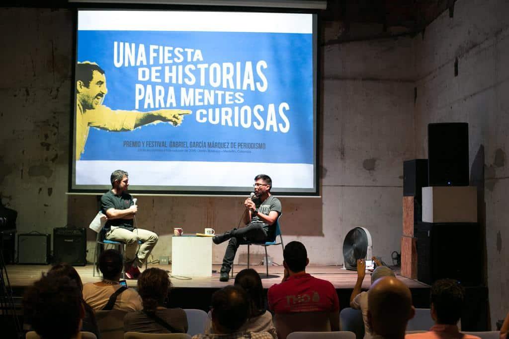 Joseph Zárate (Perú) en conversación con Alfonso Buitrago. Foto: Julián Roldán /FNPI.