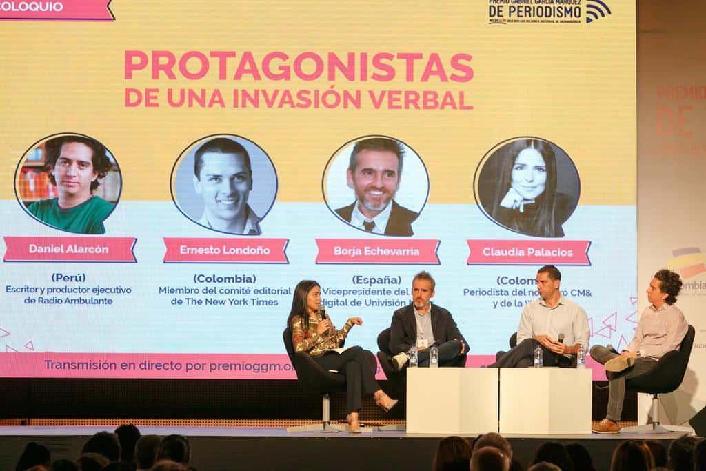 Daniel Alarcón (Perú), Ernesto Londoño (Colombia) y Borja Echevarría (España) en conversación con Claudia Palacios (Colombia).