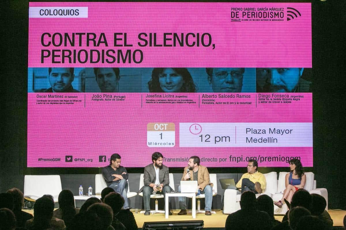 Segundo día: charla Testimonios 'Contra el silencio, periodismo'. Foto: Julián Roldán/ FNPI.