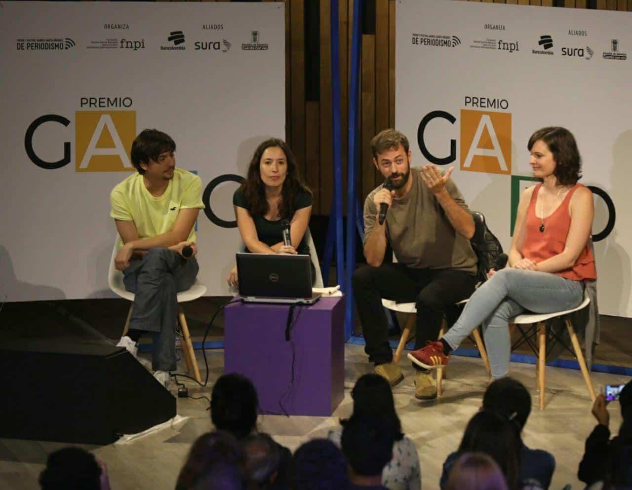 Creadores de En Malos Pasos comparten su experiencia en una charla de Periodismo tú a tú en el Festival Gabo. Foto: Joaquín Sarmiento.