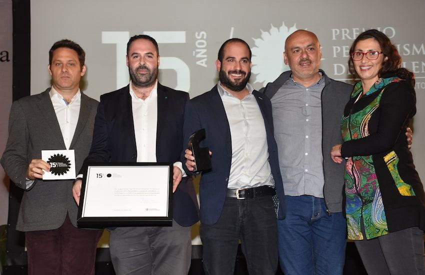 Martín Sivak, Jaime Pinochet, Patricio Nunes, Martín Peñaloza y Pamela Rojas, Informe Especial, ganadores PPE Audiovisual.