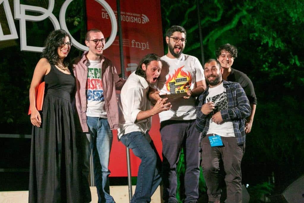 Equipo de El Surtidor, de Paraguay, ganadores del Premio Gabo 2018 categoría Innovación. Foto: Julián Roldán/Fundación Gabo.