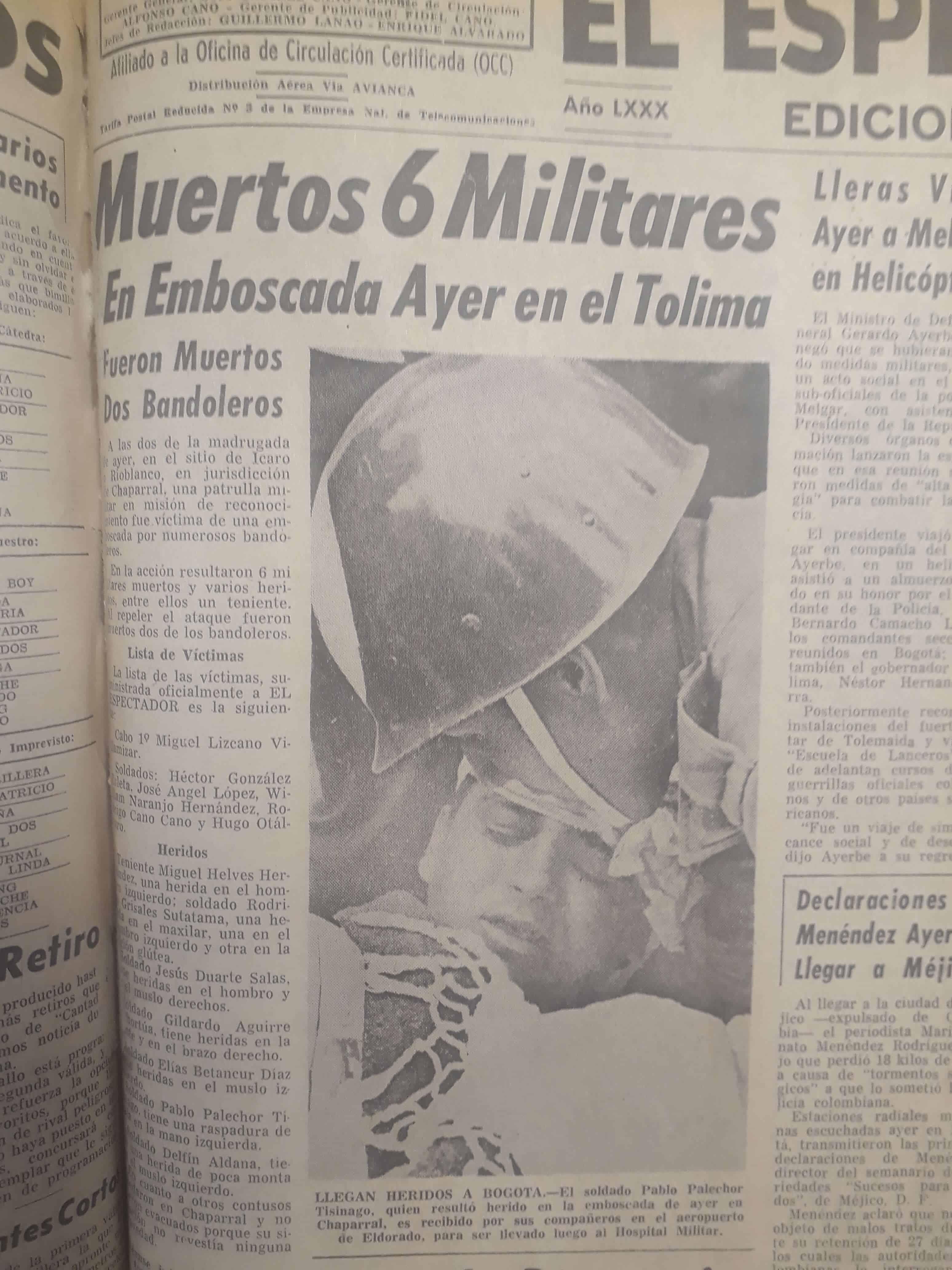 Primera página de El Espectador registrando los hechos del 22 de abril de 1967, día en que nació Jesús Abad Colorado.