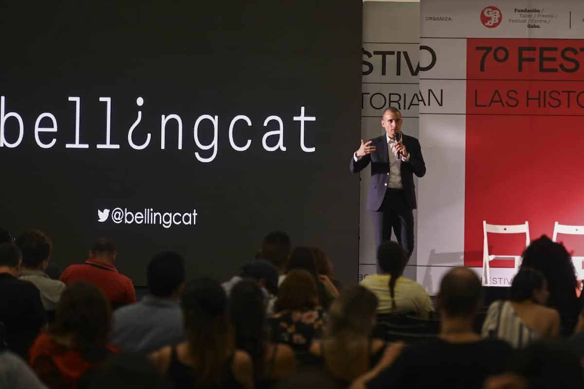 Giancarlo Fiorella, investigador de Bellingcat, en el Festival Gabo 2019.