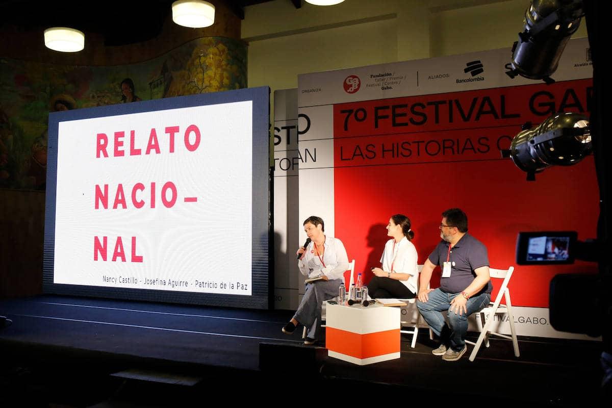 Nancy Castillo, directora y creadora de Relato Nacional; Josefina Aguirre, productora; y Patricio de la Paz, periodista.