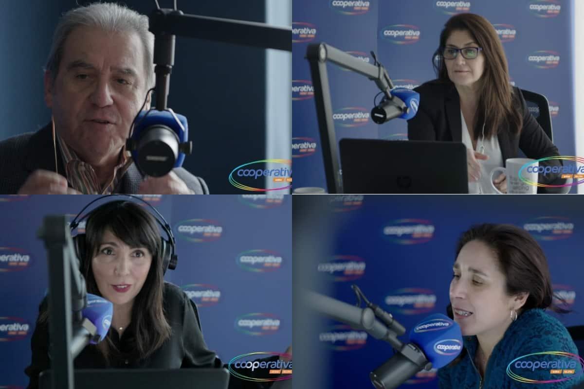 Sergio Campo, Verónica Franco, Paula Molina y Paula, de Radio Cooperativa.